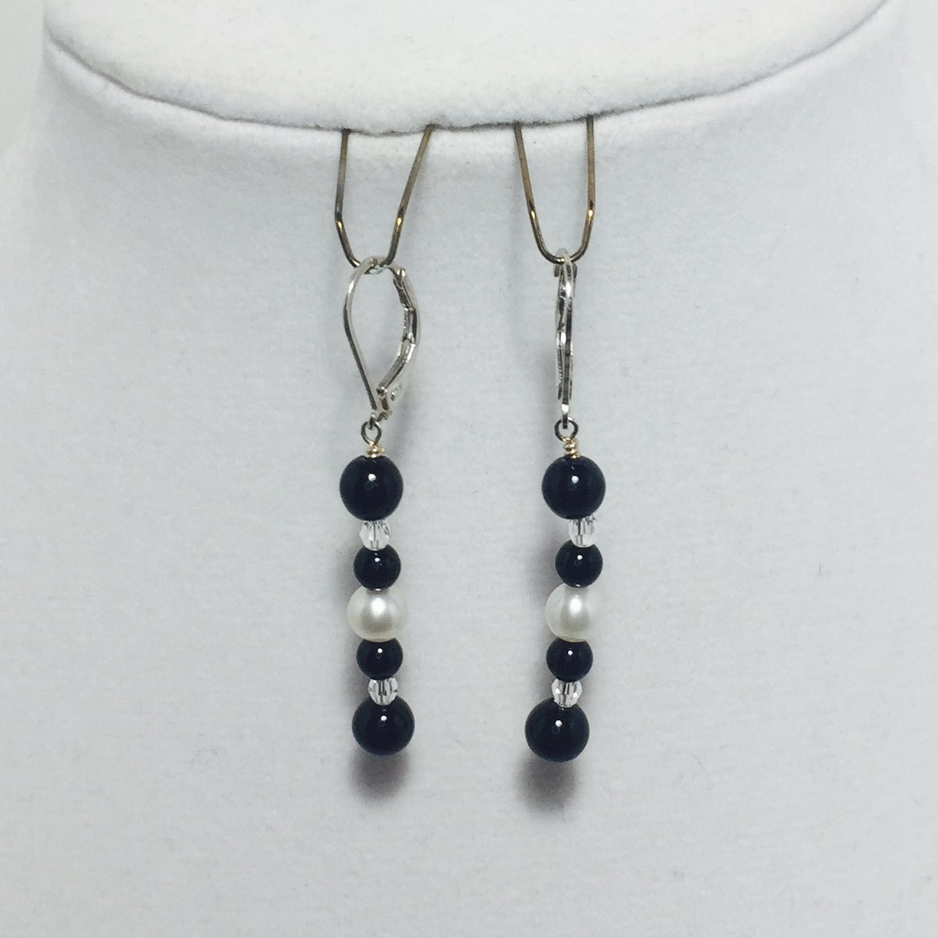 Black Jasper, Pearl, and Crystal Earrings