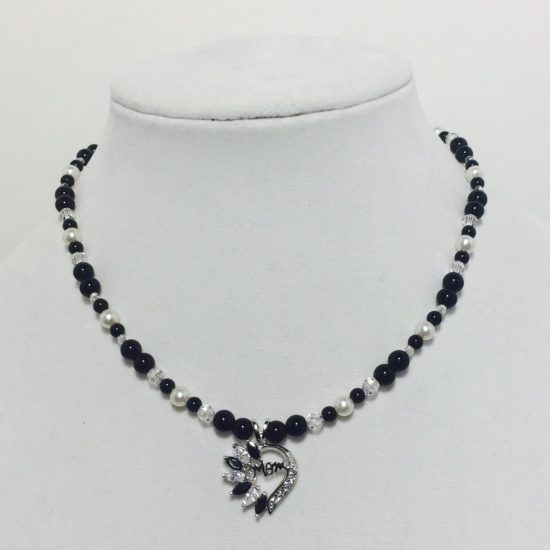 Black Jasper, Pearl, CZ, and Crystal Necklace