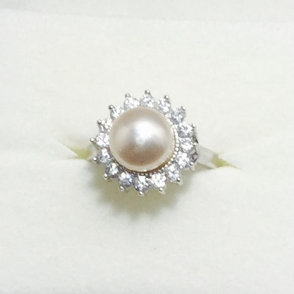 Pearl, CZ, Crystal and Sterling Silver Earrings