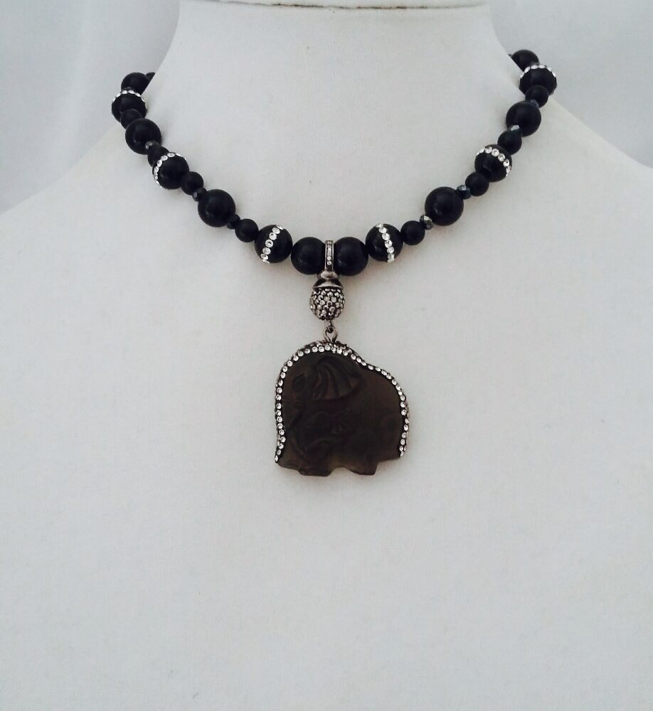 Agate, Onyx, Obsidian, Crystal and Sterling Silver Necklace