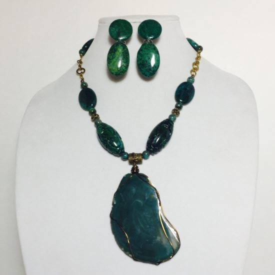 Agate, Jasper and Brass Necklace and Earrings Set