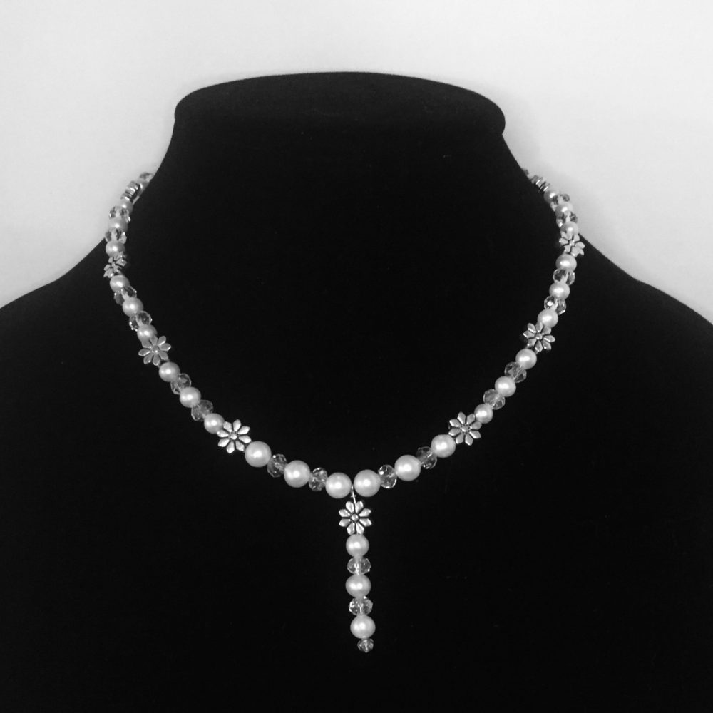 Pearl, Crystal and Silver Necklace