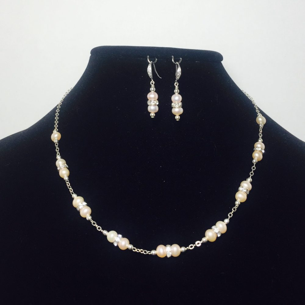 Pearl, Crystal and Sterling Silver Necklace and Earrings Set