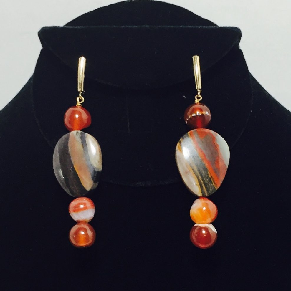 Agate and Carnelian Earrings