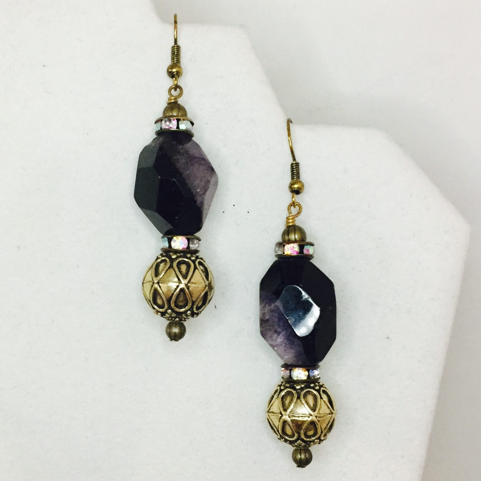 Amethyst, Crystal and Brass Earrings