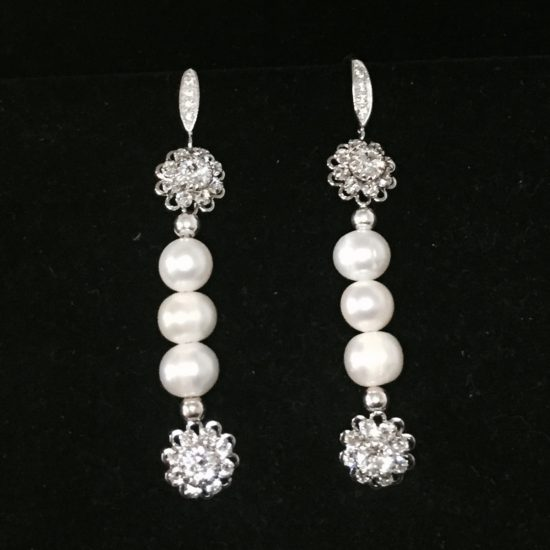 Pearl, Swarovski Crystals and Sterling Silver Earrings