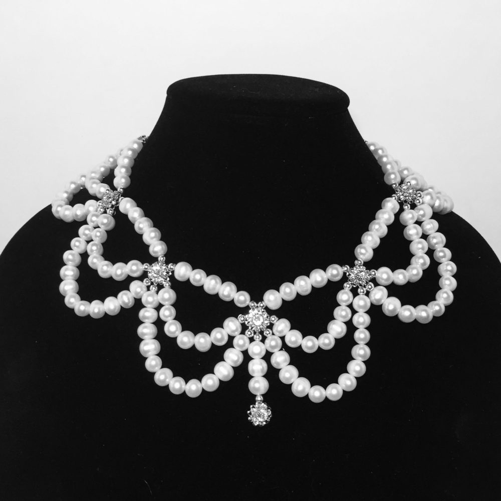 Pearl, Swarovski Crystals and Sterling Silver Necklace