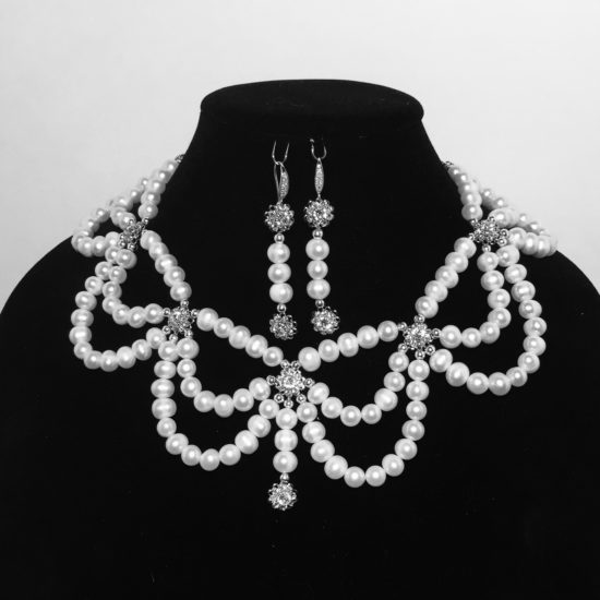 Pearl, Swarovski Crystals and Sterling Silver Necklace and Earrings Set