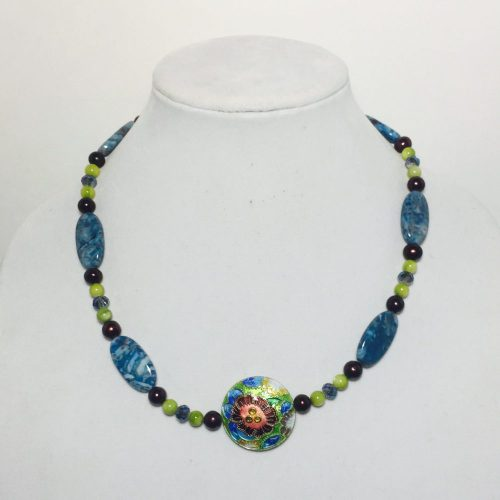 Cloisonne, Agate, Pearl, Shell and Crystal Necklace