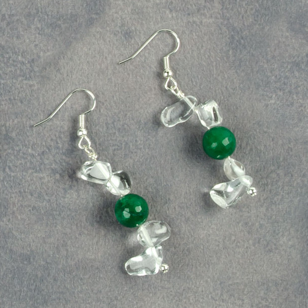 Earrings made with crystals and green jade