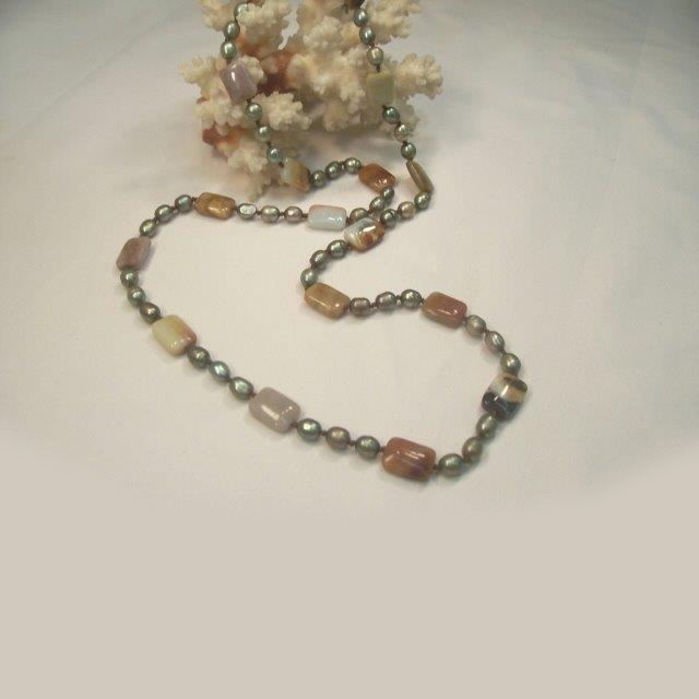 Necklace made with Amazonite stone and Fresh Water Pearls