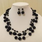 Set of earrings and necklace made with Onyx and Silver