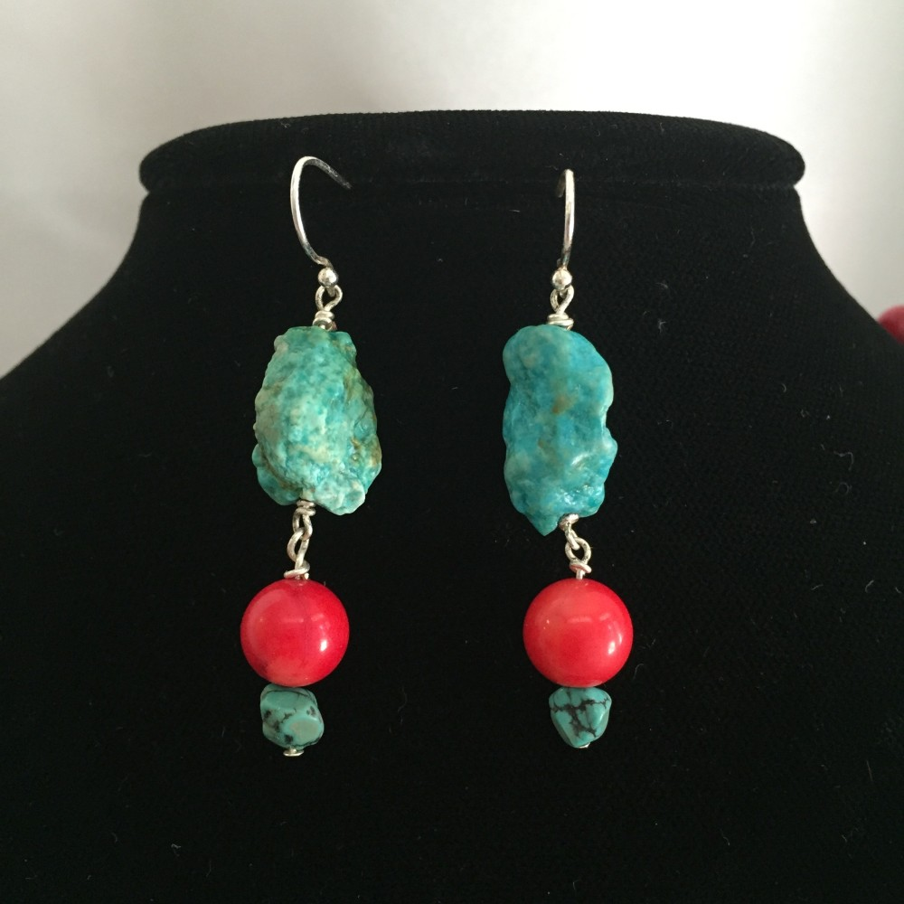 Earrings made with Turquoise and Coral