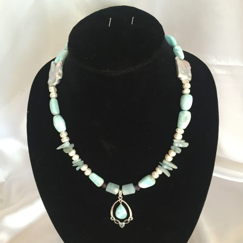 Neckalce made with Larimar, Amethyst, Aquamarine, Pearl and Silver