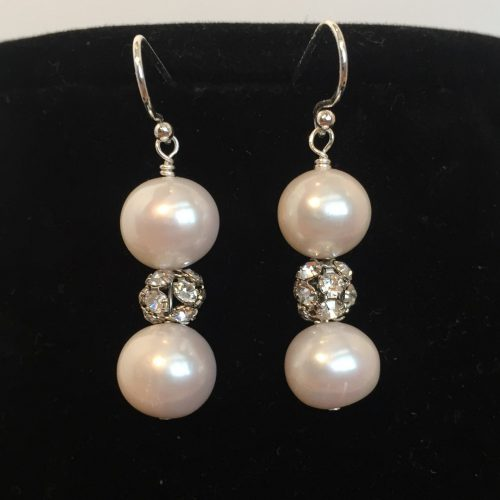 Pearl, Crystal and Sterling Silver Earrings