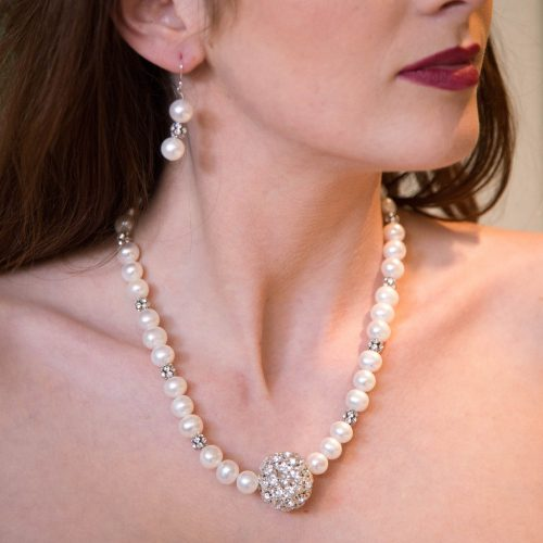 Pearl, Crystal and Sterling Silver Necklace and Earrings