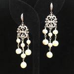 Earrings made with Pearls, Crystals, and Silver