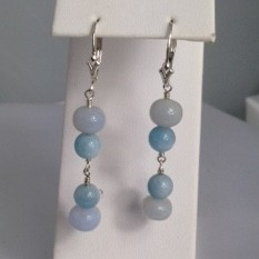 Earrrings made with Aquamarine, Chalcedony and Sterling Silver