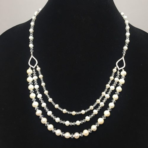 Triple strand freshwater pearl and Swarovski crystal necklace
