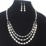 Freshwater Pearls, Swarovski Crystal, Sterling Silver Necklace and Earrings