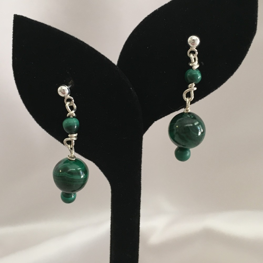 Earrings made with Malachite, Amethyst, Peridot, Smokey Quartz, and Sterling Silver