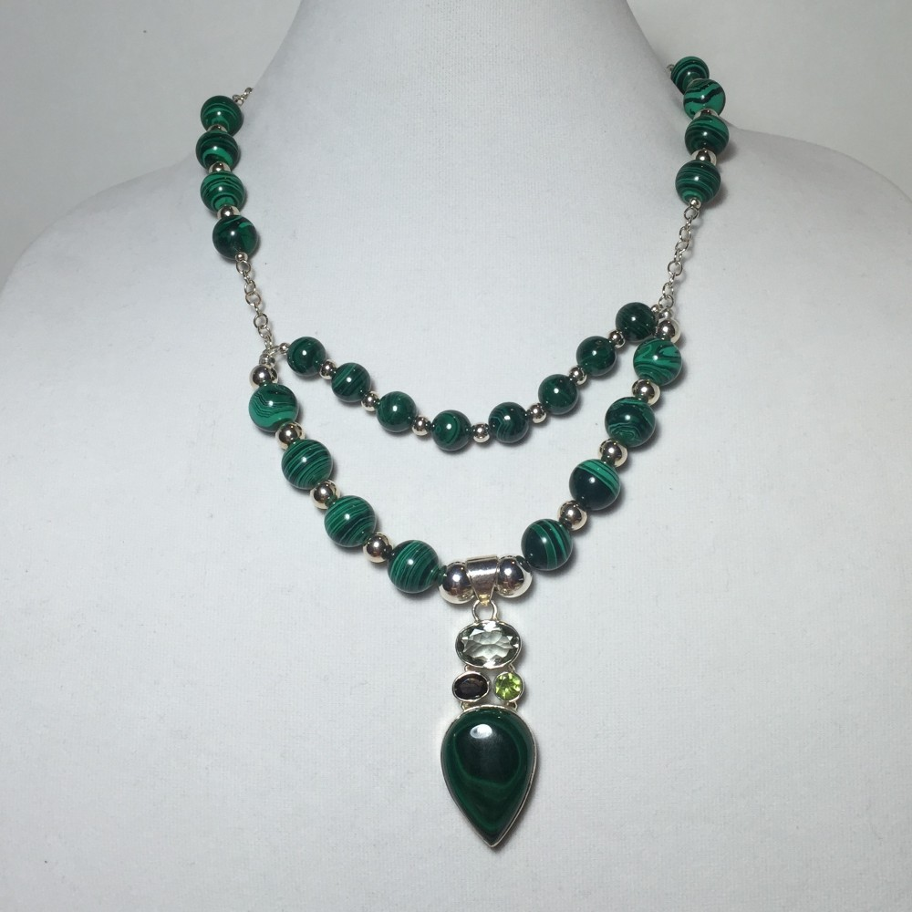 Necklace made with Malachite, Amethyst, Peridot, Smokey Quartz, and Sterling Silver