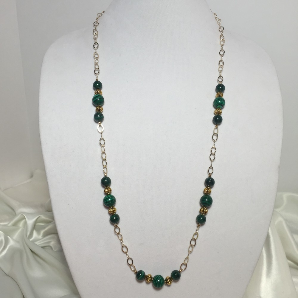 Necklace made with Malachite and Gold (filled)