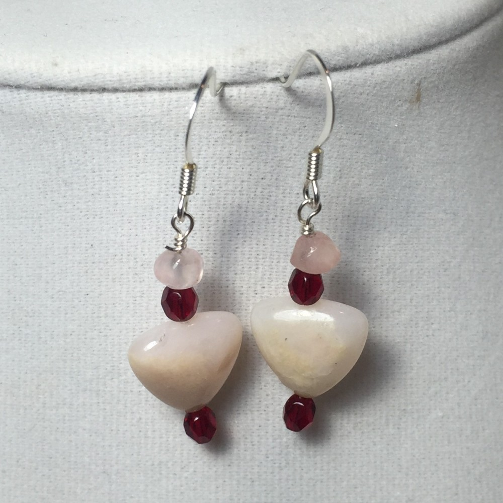 Heart earrings made with Earrings made with made with Rose Quartz, Crystals, Silver and Pink Opal