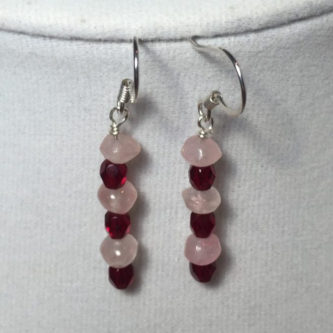 Earrings made with made with Rose Quartz, Crystals, Silver and Pink Opal