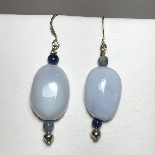 Earrings made with Sodalite and Chalcedony