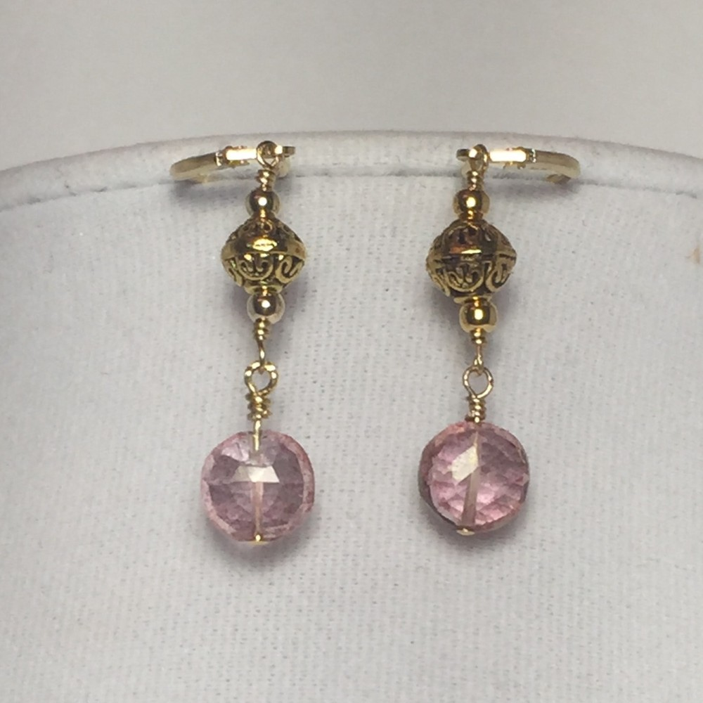 Earrings made with Quartz and Gold Plate