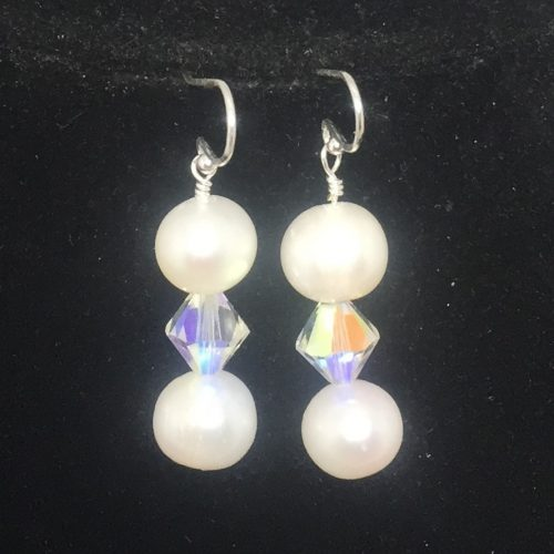 freshwater pearls and Swarovski crystal earrings