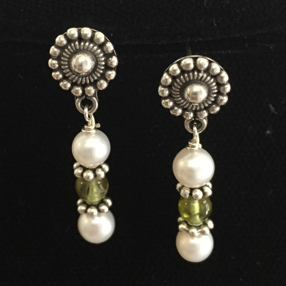 Freshwater pearls, Peridot and sterling silver earrings