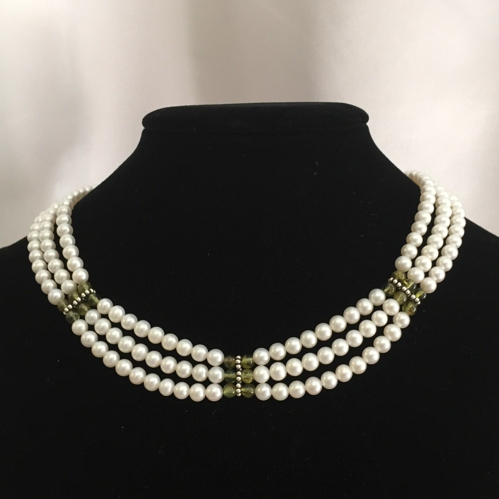 Freshwater pearls, Peridot and sterling silver necklace