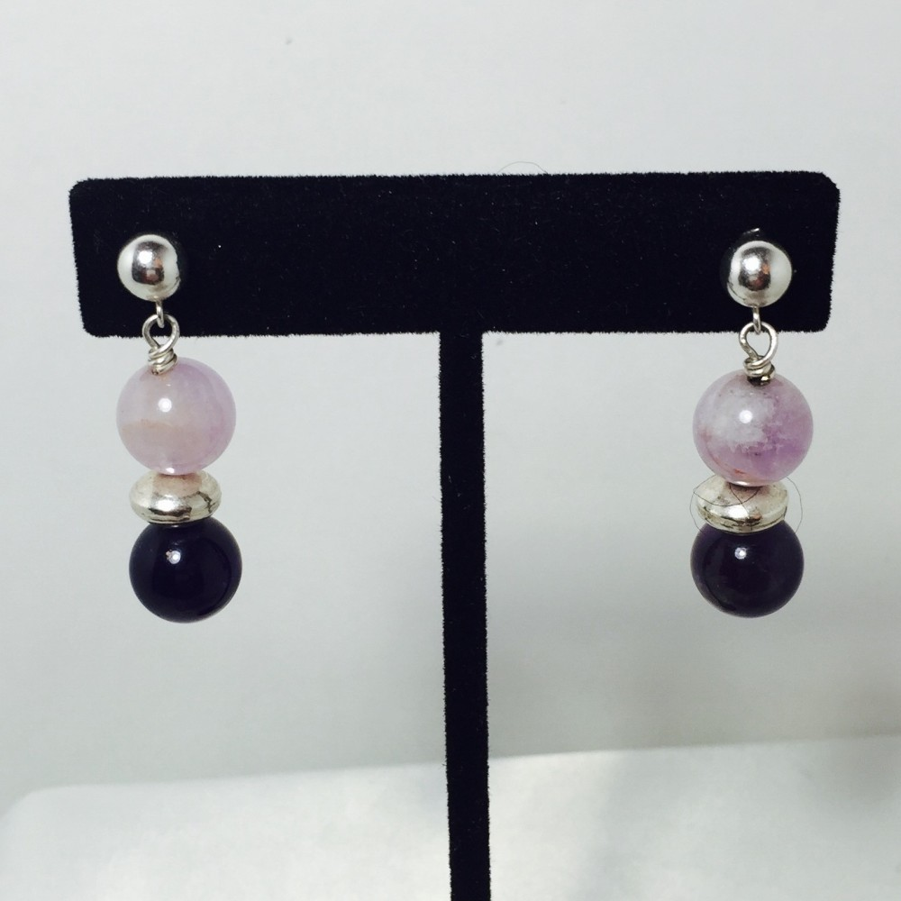 Amethyst, Jade and Sterling Silver Earrings