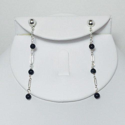 Onyx sterling silver chain earrings