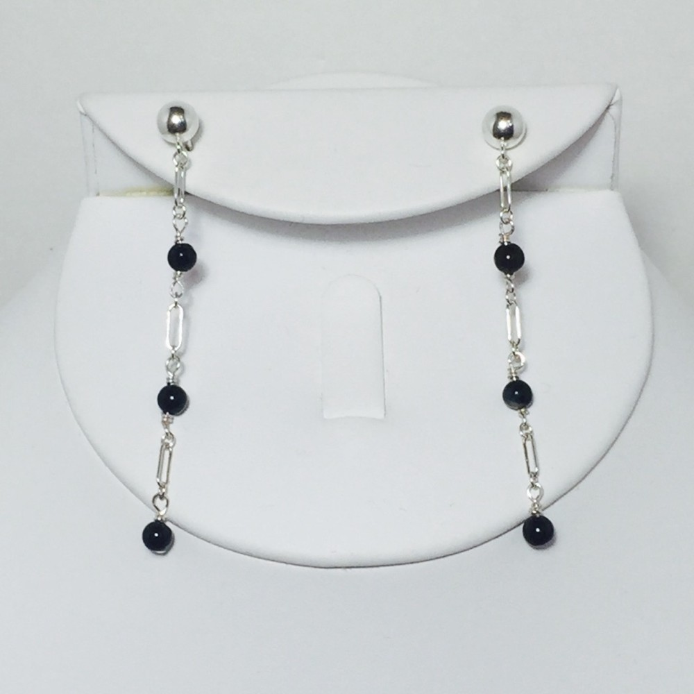 Onyx sterling silver chain earrings
