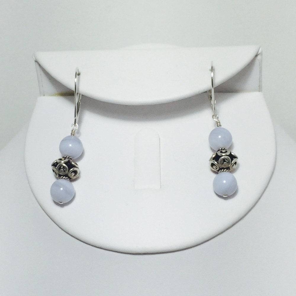 Blue Lace Agate and Sterling Silver Earrings
