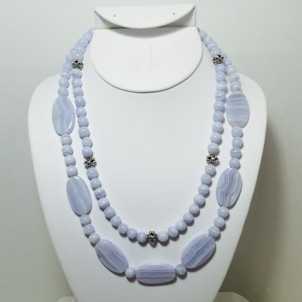 Blue Lace Agate and Sterling Silver Necklace