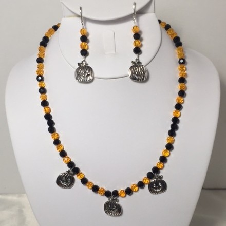 Silver Plate and Crystal Necklace and Earring Set
