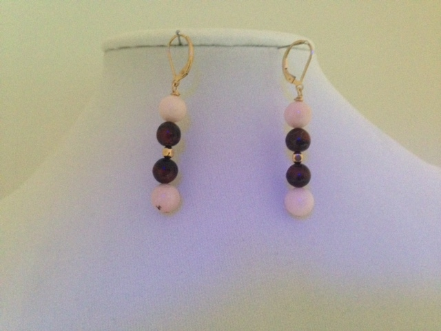 Pink Opals, red Tiger Eye and Shell earring