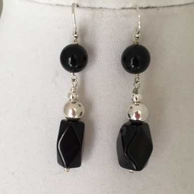 Silver, Onyx and Wood Earrings