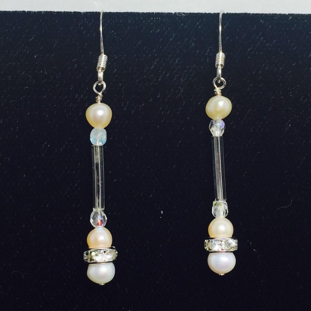 Pearl, Crystal and Swarovski Crystal Dangle Earrings