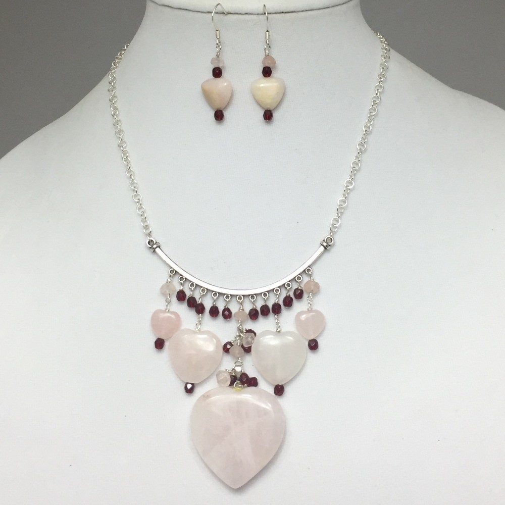 Rose Quartz and Crystals Heart Necklace and Earrings Set