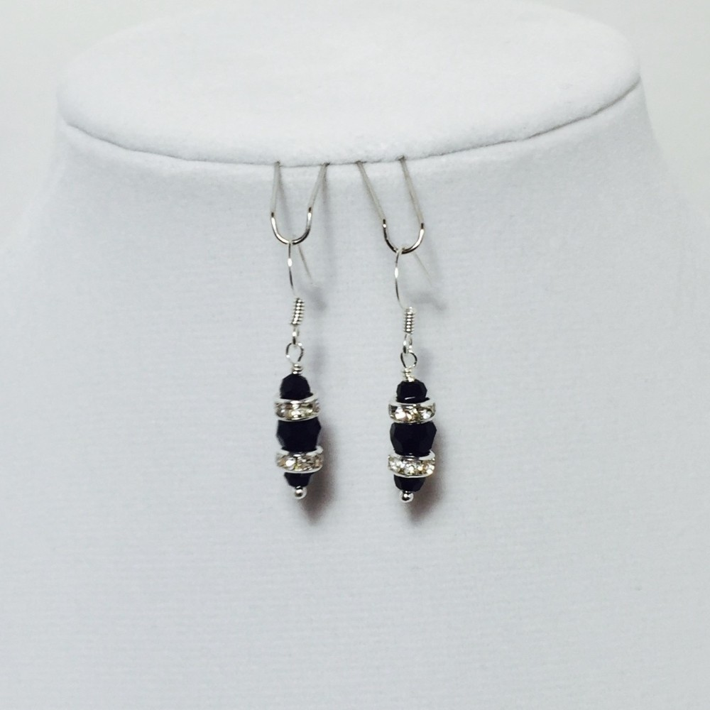 Black and Silver Crystals Earrings