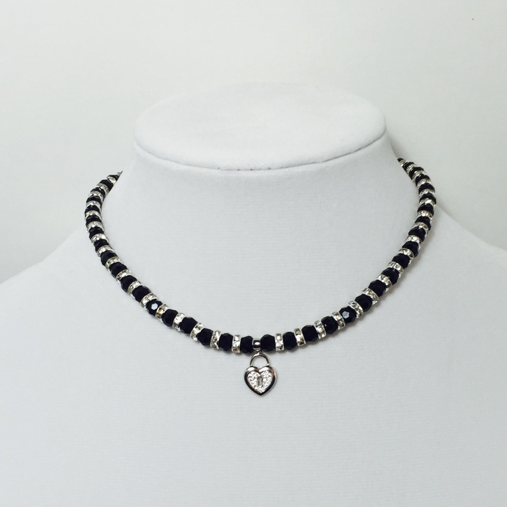 Black and Silver Crystals Necklace
