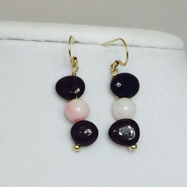 Garnet, Opal and Gold Earrings