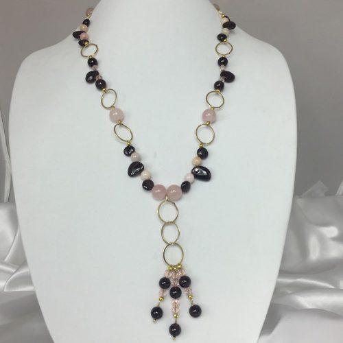 Garnet, Opal, Quartz, Crystal and Gold Necklace