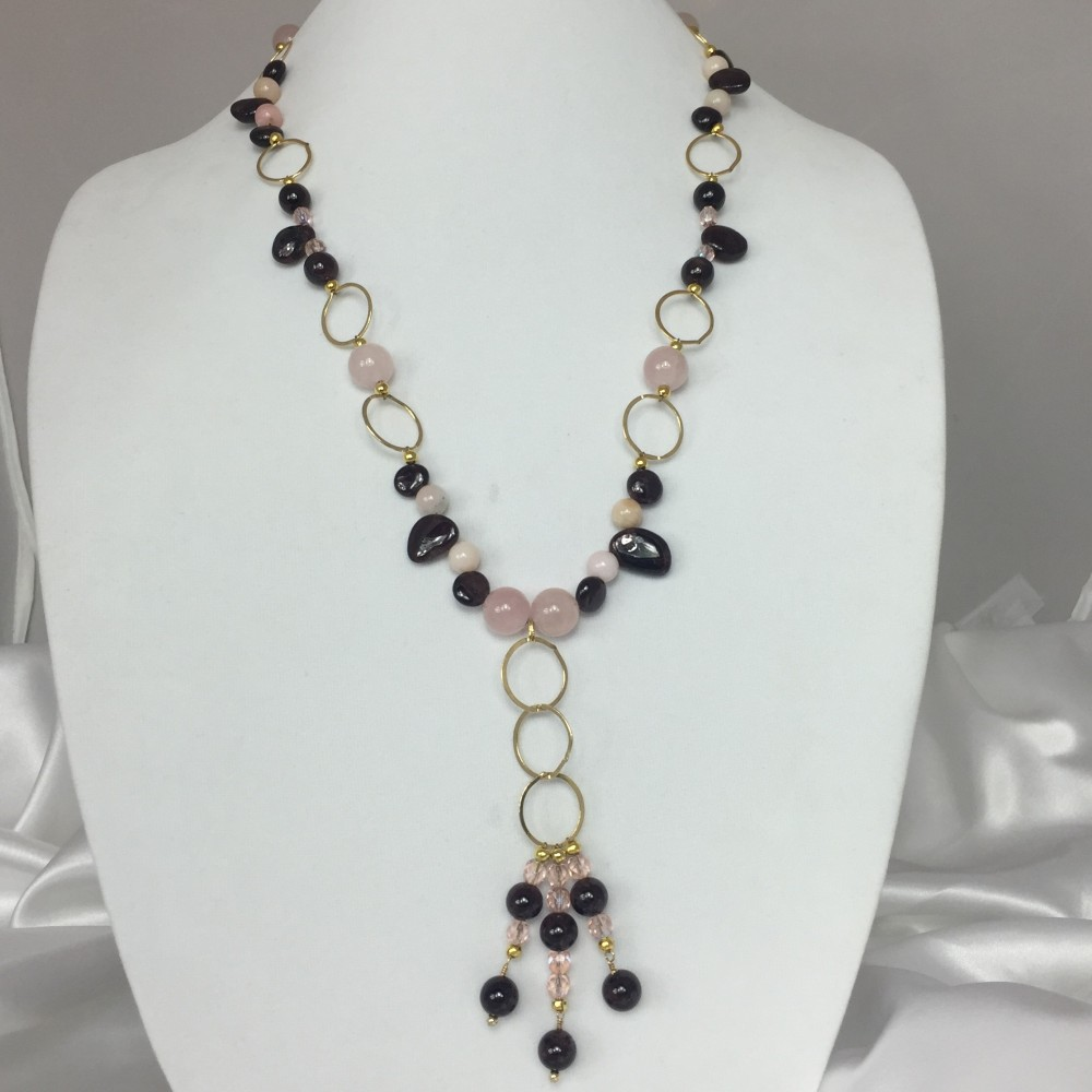 Garnet, Opal, Quartz, Crystal and Gold Necklace