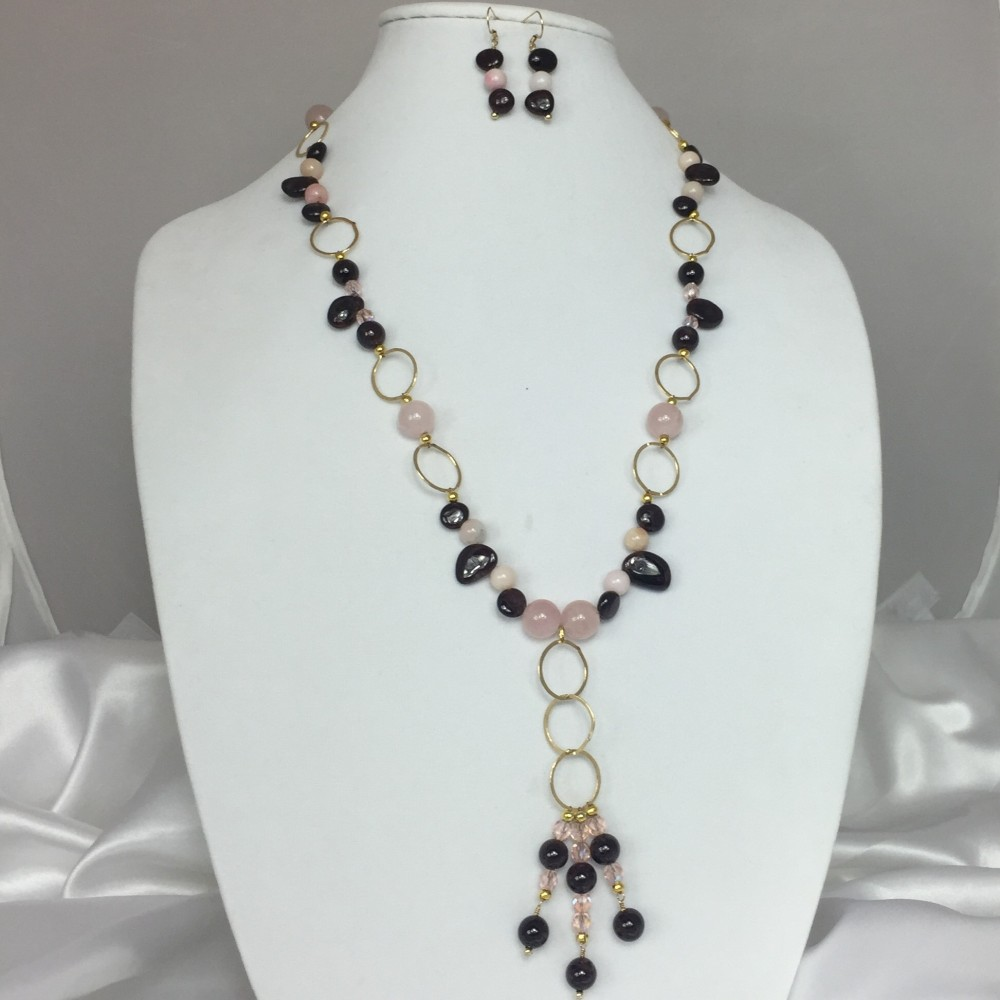 Garnet, Opal, Quartz , Crystal and Gold Necklace and Earring Set